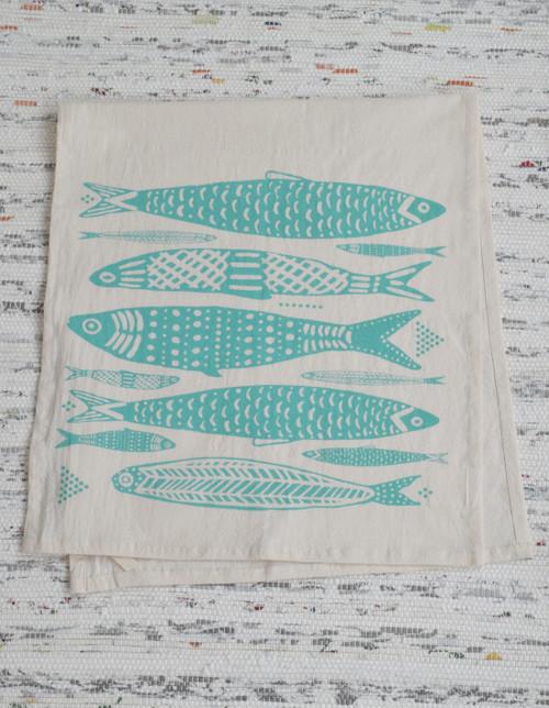Organic Sardines Tea Kitchen Towel in Teal
