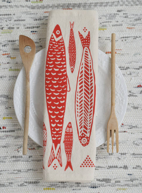 Organic Sardines Tea Kitchen Towel in Red