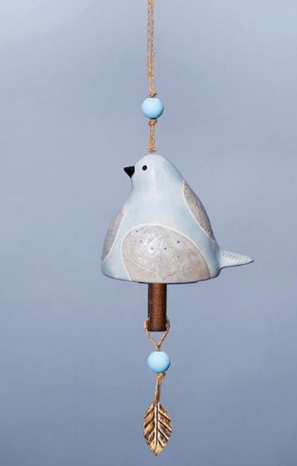 Ceramic Bird Bell in Dove