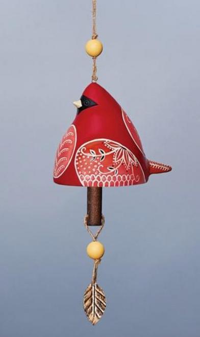 Ceramic Bird Bell in Cardinal