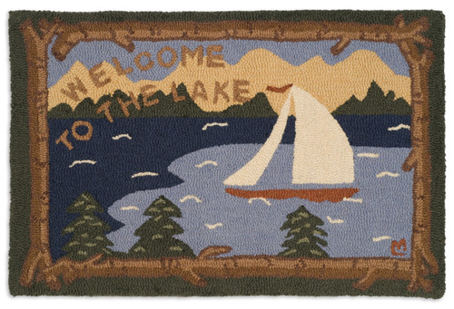 Welcome to the Lake 2' x 3' Hooked Wool Rug