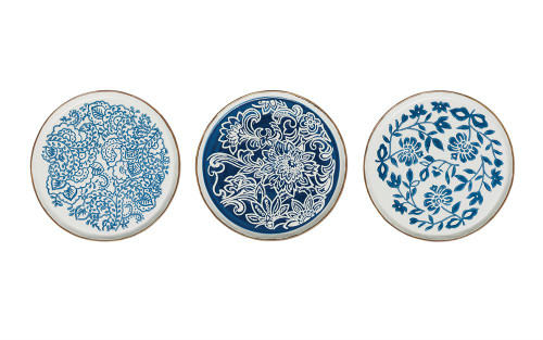 """10"""" Round Hand Stamped Blue and White Stoneware Plate (available in three styles)"""