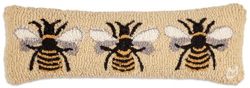 """Bumblebee 8""""x24"""" Lumbar Hooked Wool Pillow"""