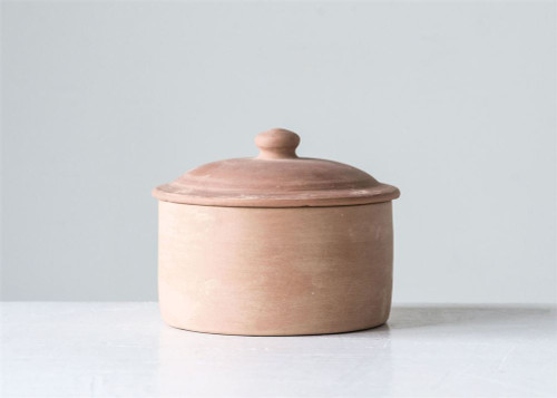 "Terra Cotta Container Pot with Lid 7"" x 5"""