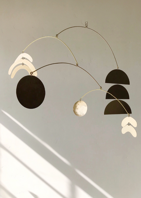 """Kinetic Sculpture No. 12 Brass Mobile 29"""" x 17"""""""