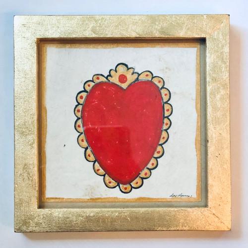 Framed Original Luis Romero Painting Exvoto Heart