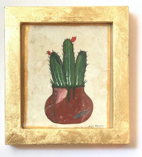 Framed Original Luis Romero Painting Potted Cactus