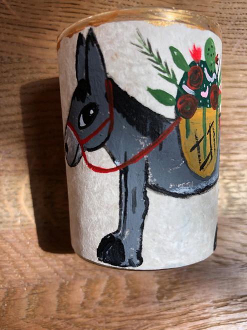 Original Luis Romero Painting on Votive Candle Holder Donkey with Flowers