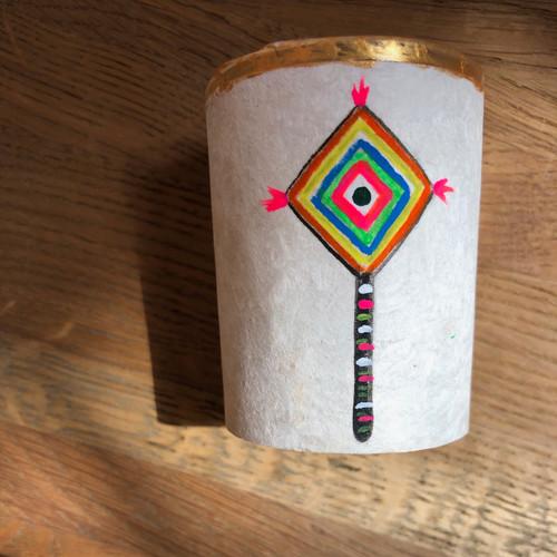 Original Luis Romero Painting on Votive Candle Holder God's Eye
