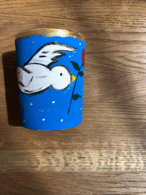 Original Luis Romero Painting on Votive Candle Holder Peace Dove