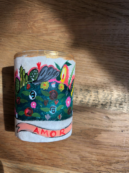 Original Luis Romero Painting on Votive Candle Holder Amor Flowers