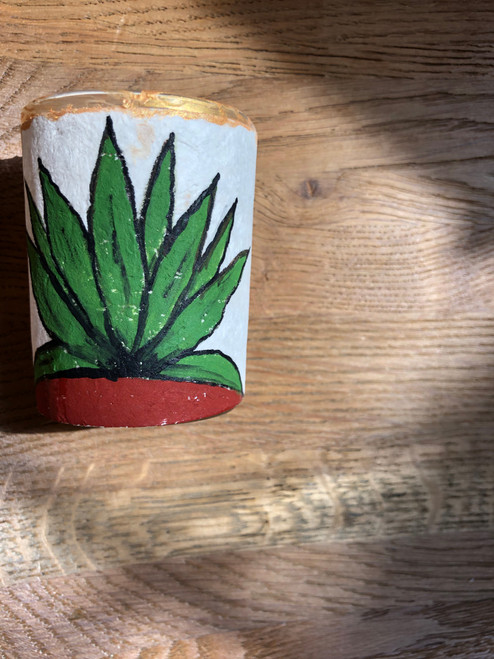Original Luis Romero Painting on Votive Candle Holder Agave Cactus