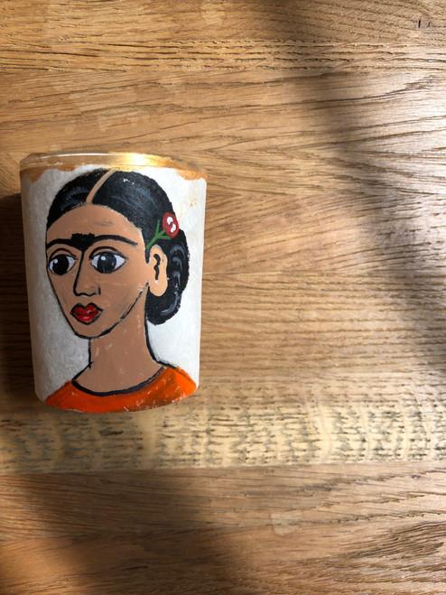 Original Luis Romero Painting on Votive Candle Holder Orange Frida