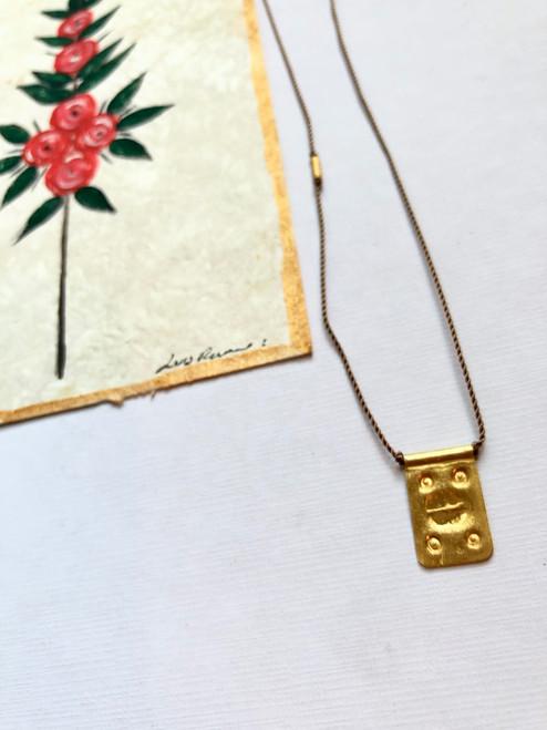"Rectangle Talisman on Light Brown Nylon Necklace 16"""