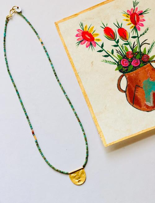 "Antique Turquoise Half Moon Talisman Necklace 17"""