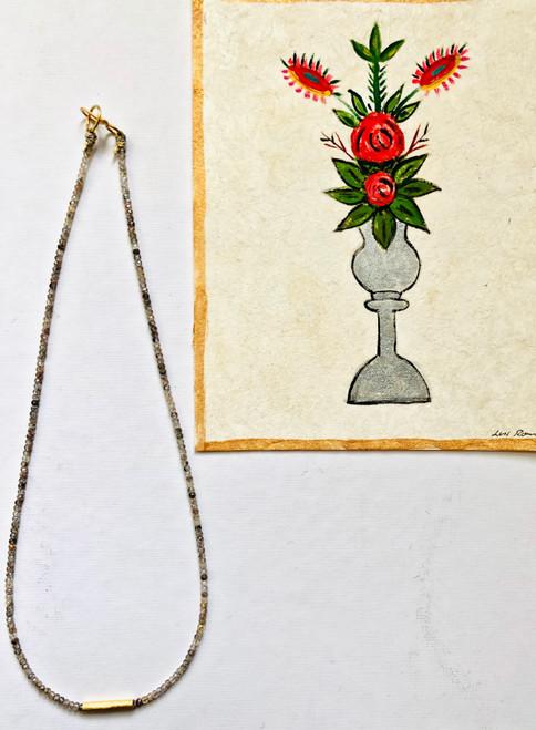 """Copper Rutile Quartz with Golden Bar Necklace 16"""""""