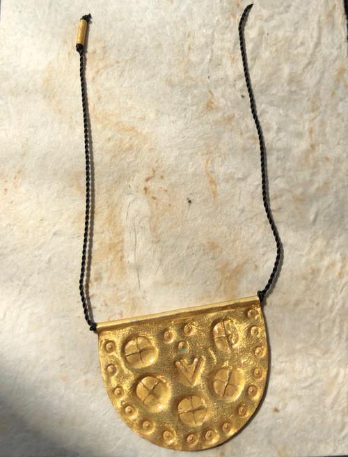 "Medallion Talisman on Black Nylon Necklace 18"""