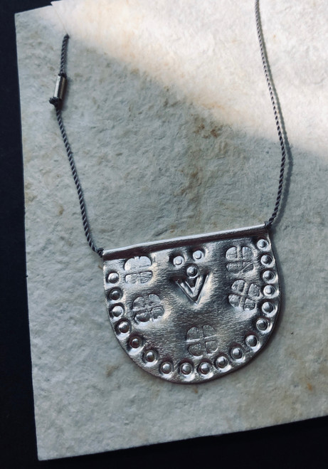 Sterling Silver Half Moon Talisman on Grey Nylon Necklace 18""
