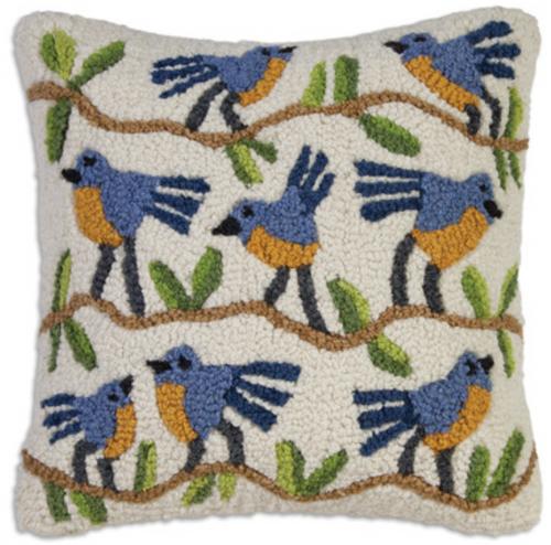 """Blue Birds on a Branch 18""""x18"""" Lumbar Hooked Wool Pillow"""