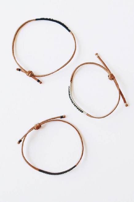 Leather Bracelet Beige with Hematite