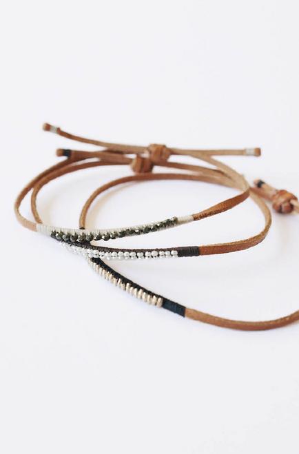 Leather Bracelet Navy Blue with Silver