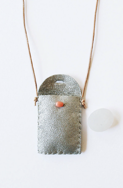 Medicine / Amulet Pouch Necklace in Silver with Coral Closure and California Moonstone