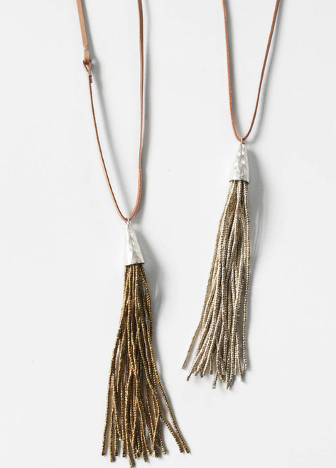 Silver Tassel Necklace with Leather Cord Sterling Silver Findings and Silver Plated Beads