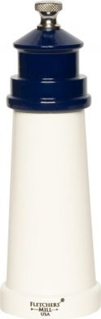 "6"" Lighthouse Pepper Mill With Cobalt Blue Top  Made in Maine!"