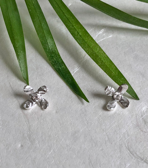 Reticulated silver tiny hydrangea stud earring white topaz by Christine Peters of Damariscotta