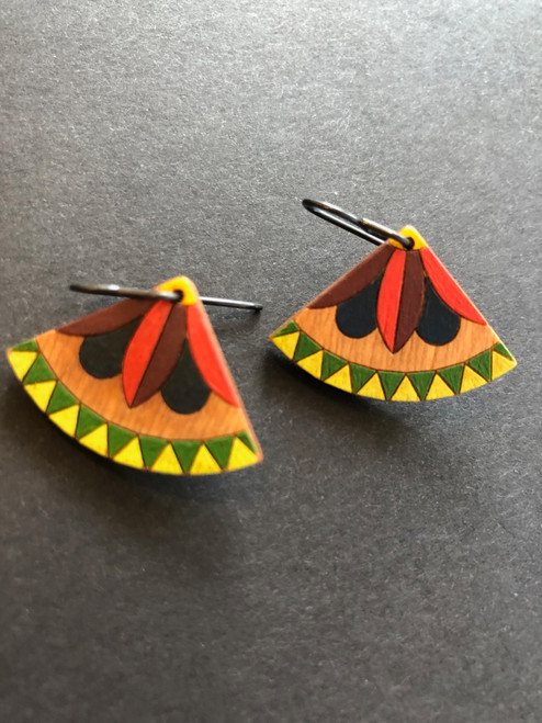 Wedge Flower Earrings in Red with Yellow and GreenHandcrafted and Handprinted by Chouinard Handmade Goods
