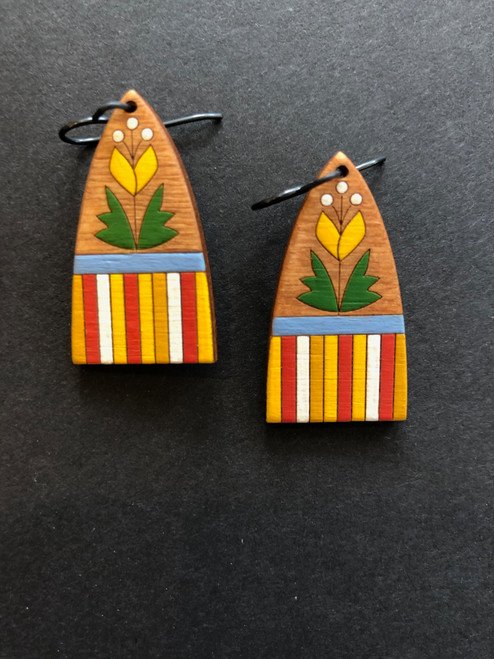 Folk Art Tab Flower Earrings in Yellow with Green Handcrafted and Handprinted by Chouinard Handmade Goods