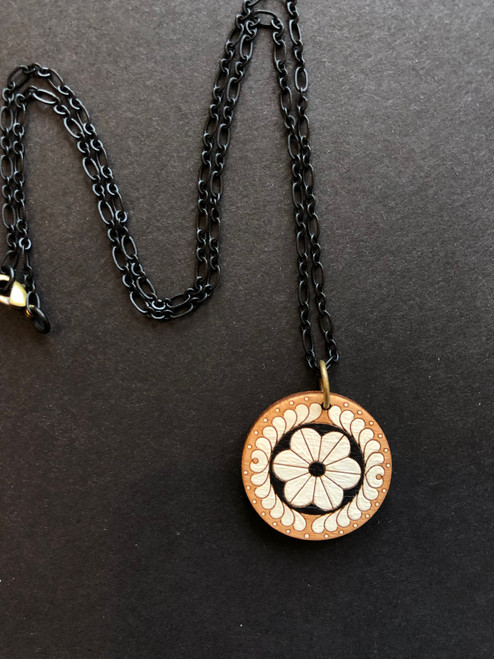 Round Pendant Necklace in White with Black by Chouinard Handmade Goods