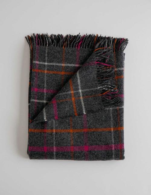 Ledge Plaid Multi Merino Wool Throw Blanket (Dark Grey with Multi)
