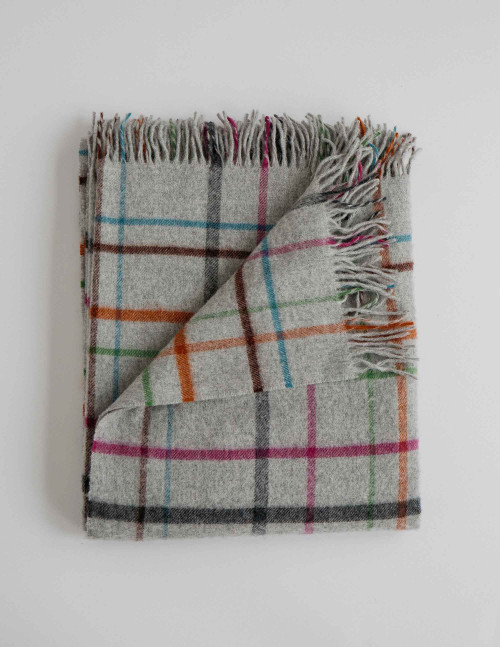 Fog Plaid Multi Merino Wool Throw Blanket (Light Grey with Multi)