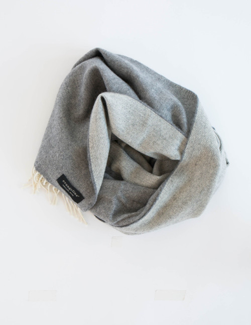 Reversible Grey and Cream Wearable Wrap Scarf in 100% Lambswool