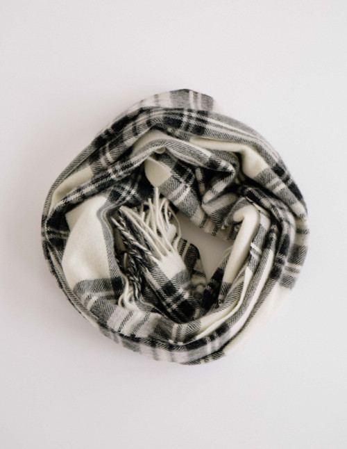 Pearl and Coal Plaid Wearable Wrap Scarf in 100% Lambswool