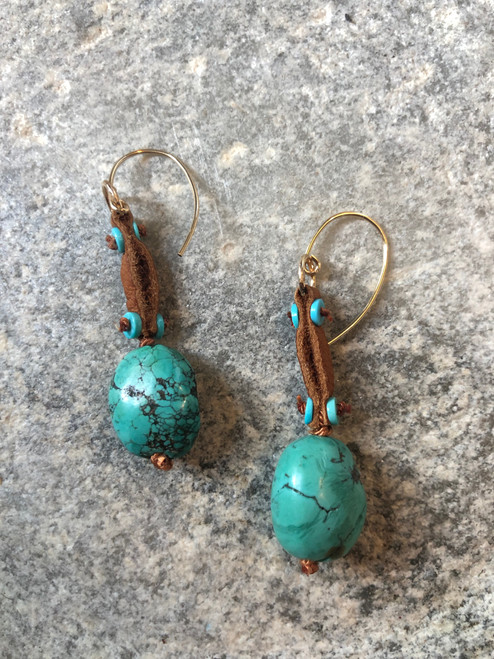 Turquoise Drop Earrings on Leather