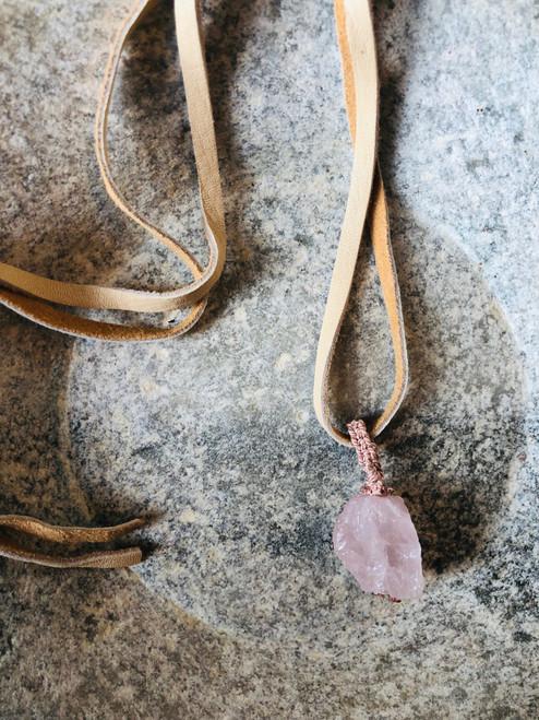 Pink Rose Quartz Pendant on Cream Leather