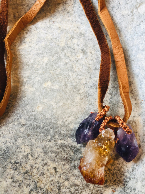 Ametrine Triple Pendant on Gold Leather