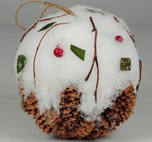 """Ball Ornament Brown Cone with Snow and Berry and Jute Hanger 5"""""""