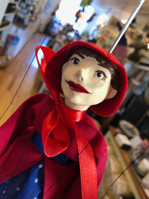 Marionette Puppet Red Riding Hood in Blue Dress
