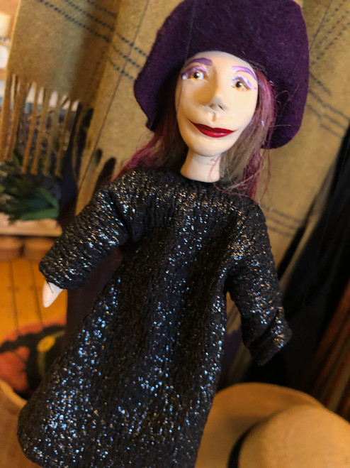 Marionette Puppet Witch in Black Glitter