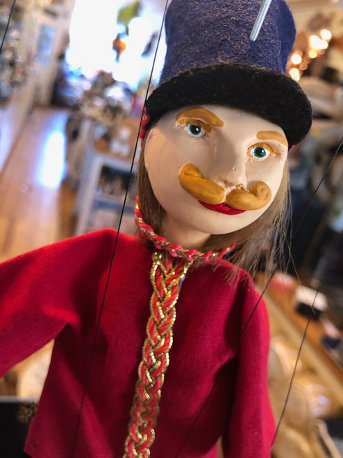 Marionette Puppet Hussar Soldier in Red with Navy Hat