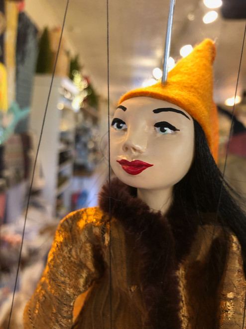 Marionette Puppet Lady of Honor in Mustard Cone Hat