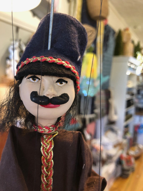 Marionette Puppet Hussar Soldier in Brown with Navy Hat