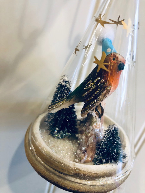 Winter Robin Bird Globe Ornament