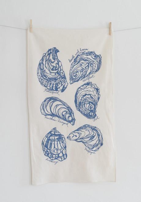 Organic Oyster Tea Towel BLUE