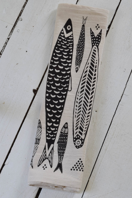 Organic Sardines Tea Towel BLACK