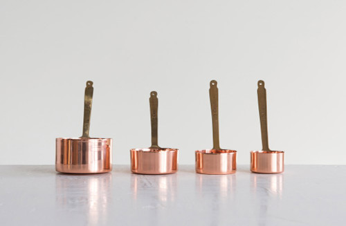 Copper and Brass Measuring Cups Set of 4