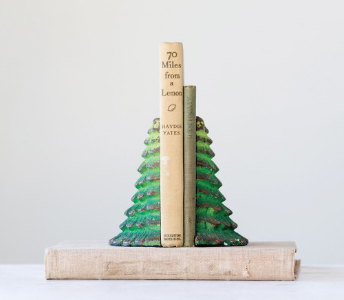 Cast Iron Tree Bookends in Distressed Green Set of 2